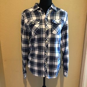 Lucky Brand Snap Up Blue Plaid Flannel